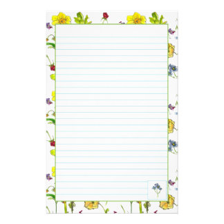 Botanical Flowers Lined Stationery Paper