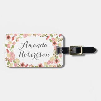 Botanical flowers luggage tag