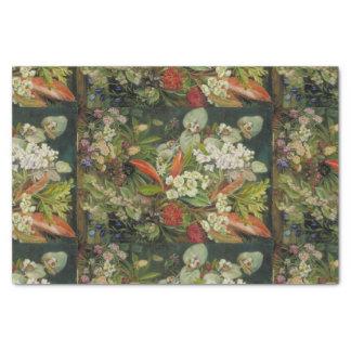 """Botanical Flowers on Dark Background 10"""" X 15"""" Tissue Paper"""