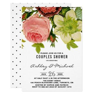 Botanical Flowers Vintage Couples Shower Card