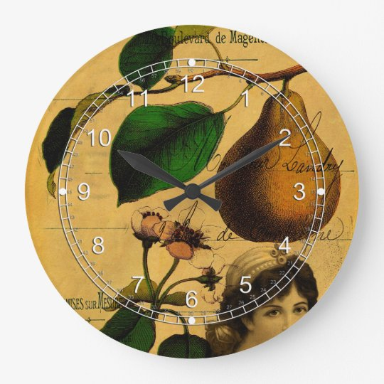 Botanical Fruit Large Clock