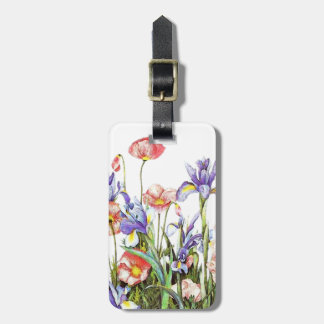 Botanical Garden Flowers Arstry Poppies & Iris Travel Bag Tags