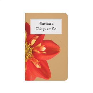 Botanical Garden Orange Dahlia Flower Text Label Journal