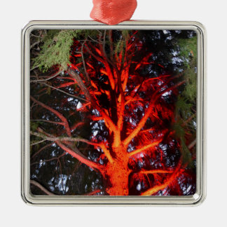 BOTANICAL GARDENS TREE WITH RED LIGHTS HOBART METAL ORNAMENT