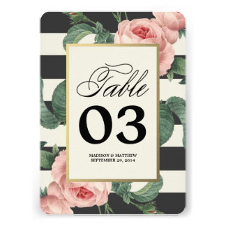 Botanical Glamour   Table Numbers Personalized Invites