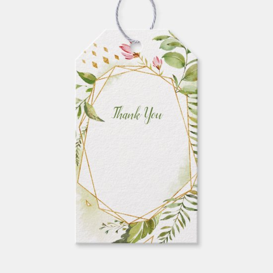 Botanical Gold Geometric Floral Thank You Tags
