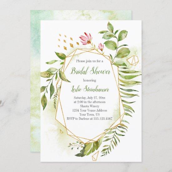 Botanical Gold Geometric Frame Bridal Shower Invitation