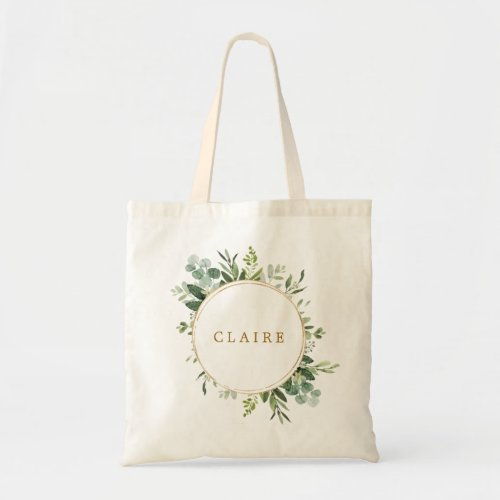 Botanical Gold Greenery Personalize Tote Bag