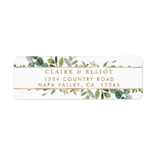 Botanical Gold Greenery Return Address Label