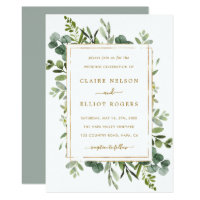 Botanical Gold Greenery Wedding Invitation