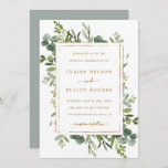 """Botanical Gold Greenery Wedding Invitation<br><div class=""""desc"""">This wedding invitation features painted watercolor eucalyptus greenery,  green leaves and a faux gold rectangular frame. For more advanced customization of this design,  Please click the """"Customize further"""" link.  Matching items are also available.</div>"""