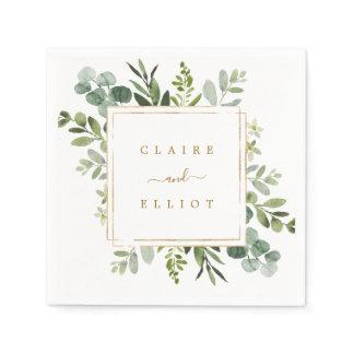 Botanical Gold Greenery Wedding Paper Napkins