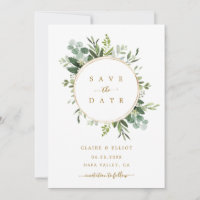 Botanical Gold Greenery Wedding Save the Date Card