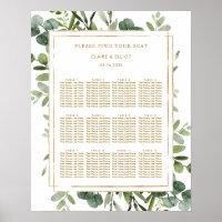 Botanical Gold Greenery Wedding Seating Chart