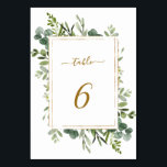 "Botanical Gold Greenery Wedding Table Number<br><div class=""desc"">This wedding table number card features painted watercolor eucalyptus greenery,  green leaves and a gold rectangular frame. For more advanced customization of this design,  Please click the ""Customize further"" link.  Matching items are also available.</div>"