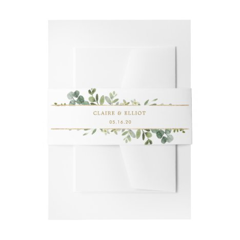 Botanical Gold Watercolor Invitation Belly Band