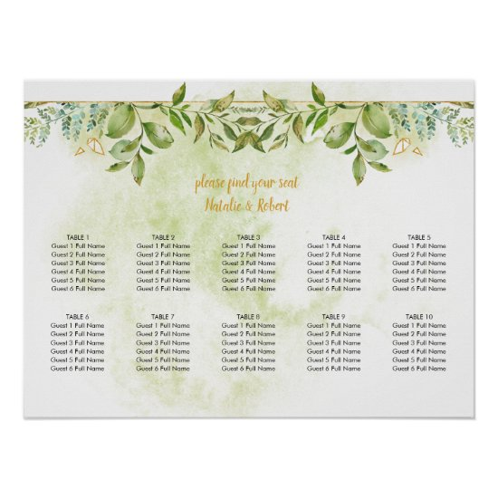 Botanical Green and Gold Crystals Wedding Poster