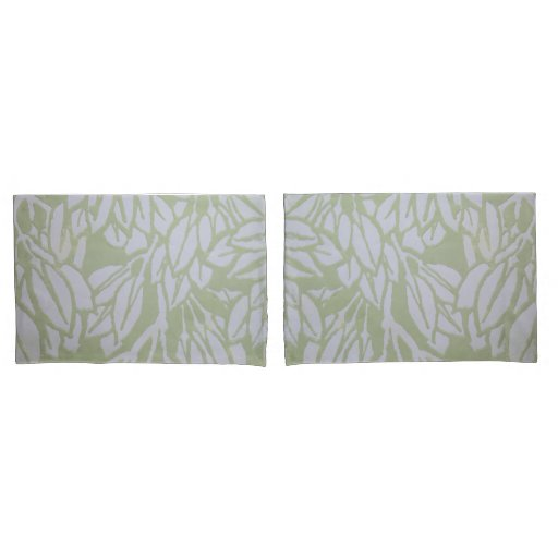 Botanical green and gray pillow case