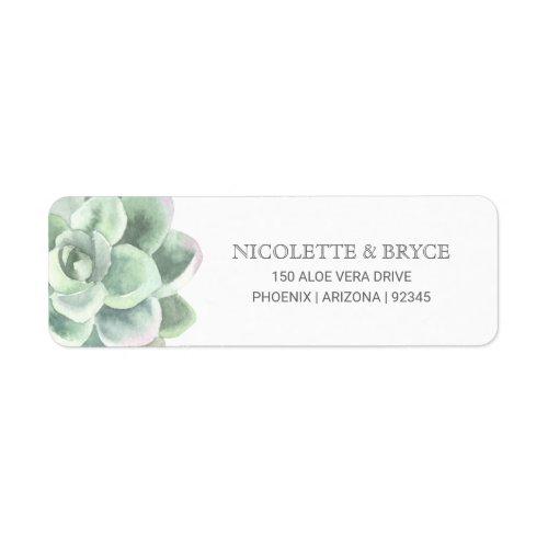 Botanical Green Succulent Return Address Wedding Label