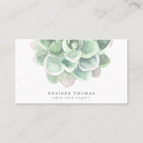 Botanical Green Watercolor Succulent Skin Care Business Card