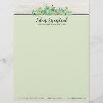Botanical Greenery Eucalyptus & Rustic Wood Eco Letterhead