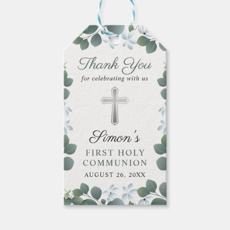 Botanical Greenery First Holy Communion Thank You Gift Tags