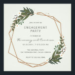"Botanical Greenery | Geometric Engagement Party Invitation<br><div class=""desc"">Modern boho engagement party invitations with a gold geometric frame surrounded by greenery and white flowers.  These botanical invites are perfect for a bohemian engagement party in the summer.  