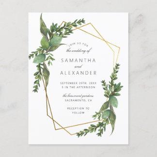 Botanical Greenery & Gold Geometric Wedding Invitation Postcard