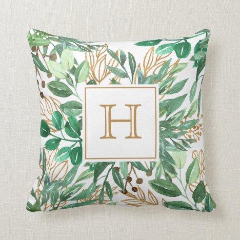 Botanical Greenery Leaf Watercolor Pretty Monogram Throw Pillow