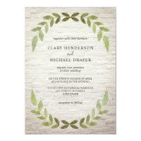 Botanical Greenery White Brick Wedding Invitation