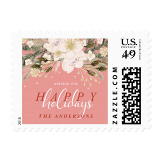 Botanical Happy Holiday Watercolor Christmas Flora Postage
