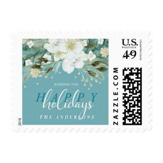 Botanical Happy Holidays Watercolor Flowers Postage