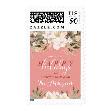 Professional Business Botanical Holiday Christmas Watercolor Bouquet Postage