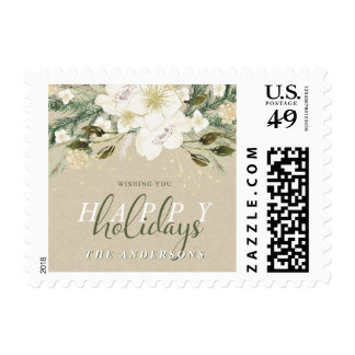 Botanical Holiday Watercolor Christmas Bouquet Postage
