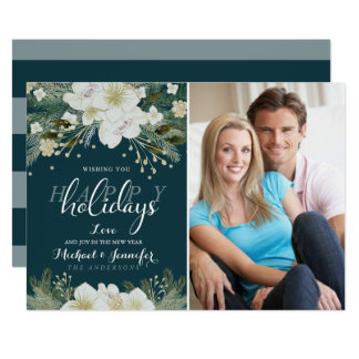 Botanical Holiday Watercolor Flower Flat Photo Card