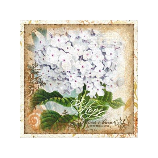 Botanical Hydrangeas Hope Wedding Personalized Gallery Wrap Canvas
