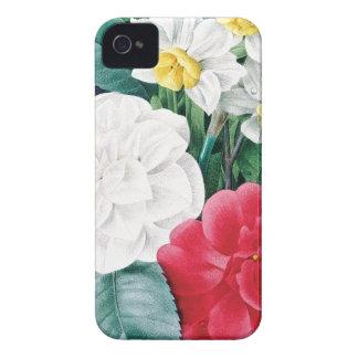 Botanical illustration Camelias & Daffodils iPhone 4 Case