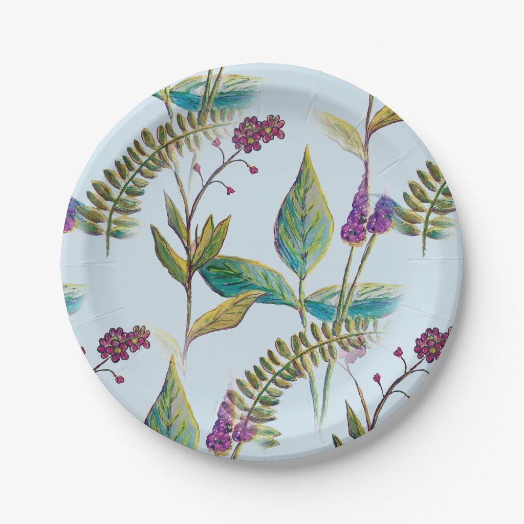 Botanical Illustration on Paper Plates