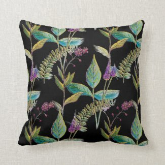 Botanical Illustration on Throw Pillow