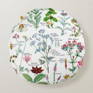 Botanical Illustrations - Larousse Plants Round Pillow