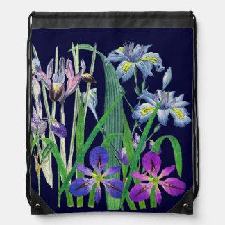 Botanical Iris Flowers Floral Garden Redoute Drawstring Bag