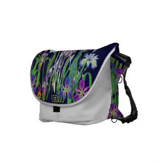 Botanical Iris Flowers Floral Garden Redoute Messenger Bag