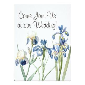 Botanical Iris Flowers Floral Garden Wedding Card