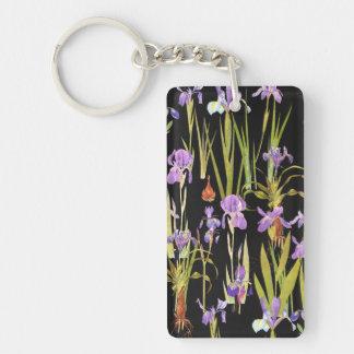 Botanical Iris Flowers Floral Irises Keychain