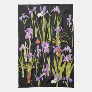 Botanical Iris Flowers Floral Irises Kitchen Towel