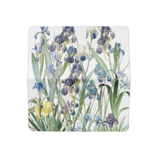 Botanical Iris Flowers Floral Redoute Checkbook Cover
