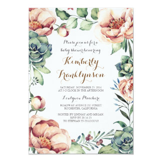 Botanical Ivory Floral Watercolor Fall Baby Shower Card