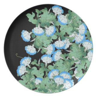 Botanical Japanese Morning Glory Flowers Floral Dinner Plate
