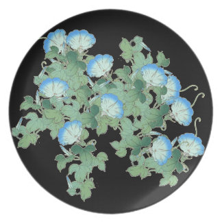 Botanical Japanese Morning Glory Flowers Floral Plate