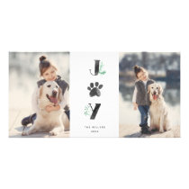 Botanical Joy Paw Print | Pet Holiday 2 Photo Card
